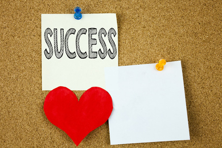 Conceptual hand writing text caption inspiration showing Success concept for Victory Triumph Good Result Favourable Outcome and Love written on sticky note, cork background with copy space Stock Photo