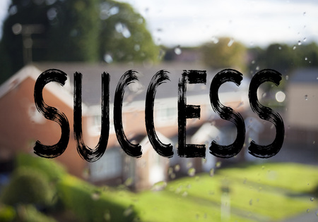 Announcement text caption showing Success. Business concept for Victory Triumph Good Result Favourable Outcome written on old brick background with space