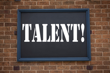 Conceptual hand writing text caption showing announcement Talent. Business concept for  Capability Expertise Know-How Ability written on frame old brick background with space