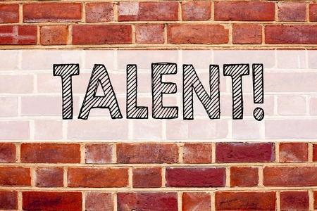 Conceptual announcement text caption inspiration showing Talent. Business concept for Capability Expertise Know-How Ability written on old brick background with space