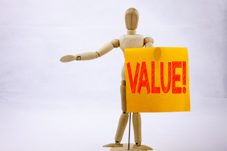 Conceptual hand writing text caption inspiration showing Value  Business concept for Importance Use Benefit Principles Morals Ethics on sticky note sculpture background with space Stock Photo