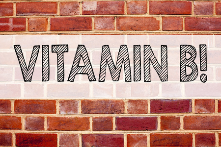 Conceptual announcement text caption inspiration showing Vitamin B. Business concept for  written on old brick background with space