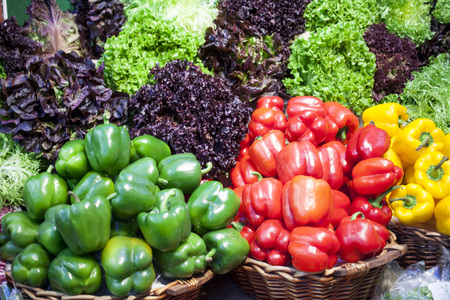 Assortment of fresh fruits and vegetables on the market Stock Photo