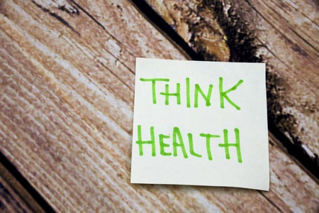 Memo note on Sticky note Think Health, think about Helath