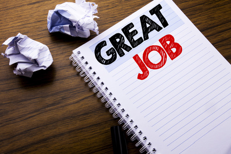 Writing text showing Great Job. Business concept for Success Appreciation written on notebook notepad note paper on wooden background with folded paper meaning thinking for idea