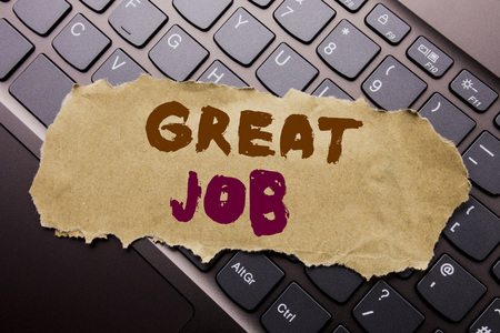 Writing text showing Great Job. Business concept for Success Appreciation written on sticky note paper on dark keyboard background.