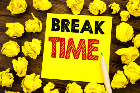Writing text showing Break Time. Business concept for Stop Pause From Work Workshop Written on sticky note paper, wooden background folded yellow paper meaning thinking