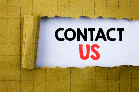 Contact Us. Business concept for Customer Support written on white paper on yellow folded paper.