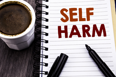 Writing text showing Self Harm. Business concept for Selfharm Mental Aggression written on notebook book note paper on wooden wood background. With coffee and black marker.
