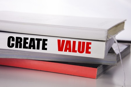 Writing text showing Create Value. Business concept for Creating Motivation written on the book the white background. Reklamní fotografie