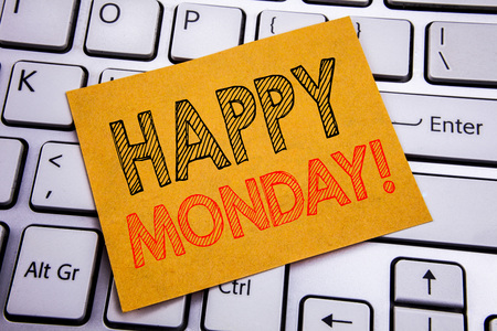 Conceptual hand writing text caption inspiration showing Happy Monday . Business concept for New Week Motivation written on sticky paper on the white keyboard background. Stock Photo