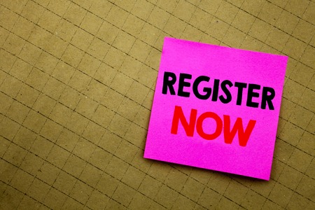 Handwritten text caption showing Register Now. Business concept writing for Registration For written on sticky note paper on yellow background.