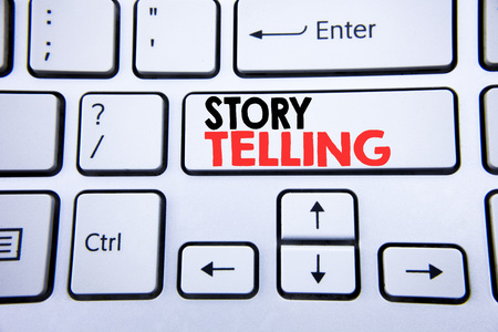 Word, writing Storytelling. Business concept for Teller Story Message written on white keyboard key with copy space. Top view