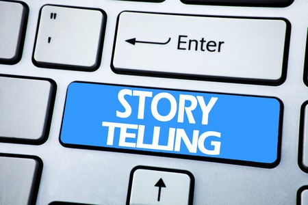 Handwriting Announcement text showing Storytelling. Business concept for Teller Story Message written on red key the keybord background.