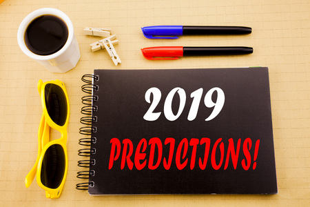 Hand writing text caption showing 2019 Predictions. Business concept for Forecast Predictive written on sticky note with copy space on wood wooden background with sunglasses