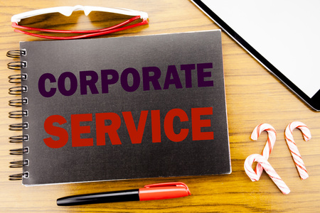 Handwriting Announcement text   Corporate Service. Business concept for Csr Digital Content Written on notepad notebook book wooden background in office view with pencil marker and tablet