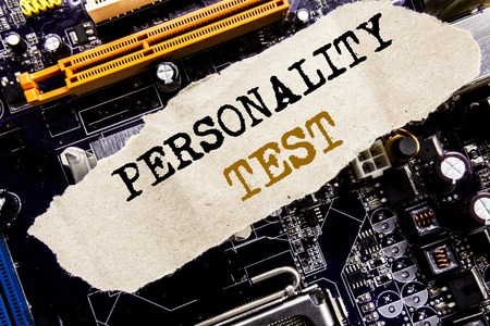 Handwriting Announcement text showing Personality Test. Business concept for Attitude Assessment Written on sticky, computer main board background.