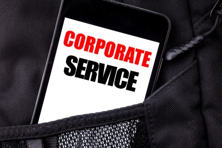 Handwritten text showing Corporate Service. Business concept writing for Csr Digital Content Written phone mobile phone, cellphone placed in  man front jeans pocket.