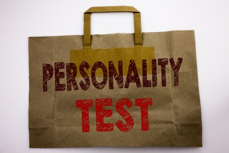 Word, writing Personality Test. Business concept for Attitude Assessment Written shopping bag, white isolated background. Stock Photo