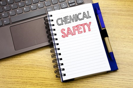 Writing text showing Chemical Safety. Business concept for Hazard Health At Work written on notebook book on wooden background in the Office with laptop