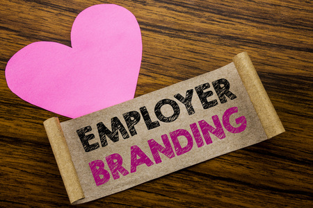 Writing text showing Employer Branding. Business concept for Brand Building written on sticky note paper, wooden background. With pink heart meaning love adoration.