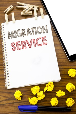Writing text showing Migration Service. Business concept for Online Network Idea written on note paper folded Meaning Thinking paper on the wooden background with marker and coffee Banco de Imagens