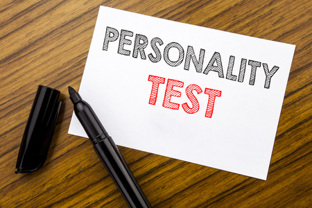 Writing text showing Personality Test. Business concept for Attitude Assessment written on sticky note paper on wooden background with pen, marker