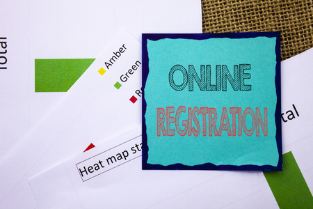 Conceptual writing text showing Online Registration. Concept meaning Register Web Subscription Subscribe written Sticky Note Paper the textured background. Heat Map Status