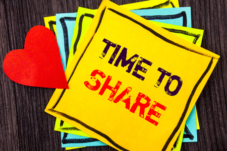 Writing text showing  Time To Share Question. Concept meaning Your Story Sharing Feedback Suggestion Information  written Stikcy Note Paper the wood background Love Heart Stock Photo