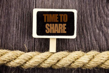 Conceptual writing text showing Time To Share Question. Business photo showcasing Your Story Sharing Feedback Suggestion Information  written Blackboard Hanging rope wooden background