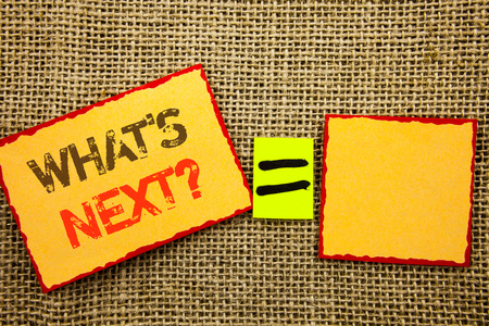 Word, writing, text  What is Next Question. Conceptual photo Next Future Plan Vision Progress Goal Guidance written Sticky note Paper EquatiFor Your Own Text textured background