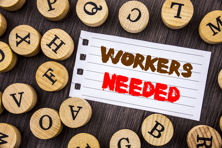 Word, writing, text  Workers Needed. Conceptual photo Search For Career Resources Employees Unemployment Problem written on tear notobook paper on wooden background with letters. Stock Photo
