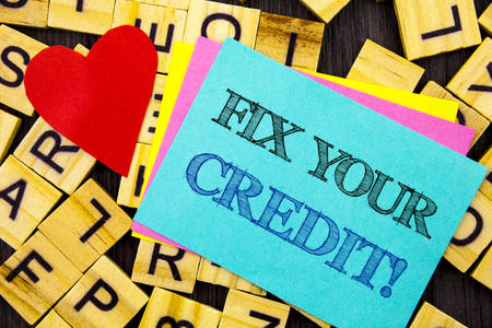 Handwritten text showing Fix Your Credit. Conceptual photo Bad Score Rating Avice Fix Improvement Repair written colorful sticky note the letter background Love Heart for Loving Stock Photo