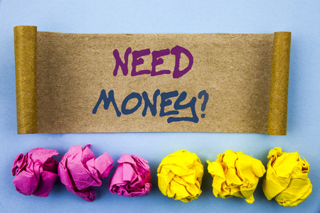 Handwriting text showing Need Money Question. Concept meaning Economic Finance Crisis, Cash Loan Needed written tear sticky note Paper the blue background Folded paper Stock Photo