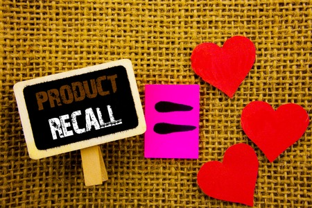 Writing text showing  Product Recall. Concept meaning Recall Refund Return For Products Defects written blackboard equatiMeaning Love Heart the textured background Stock Photo