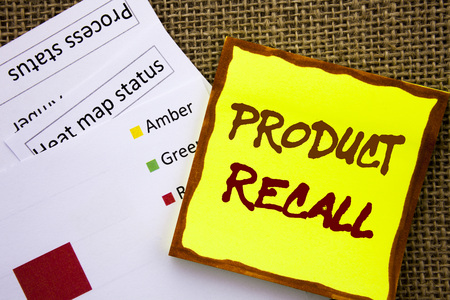 Handwritten text sign showing Product Recall. Business concept for Recall Refund Return For Products Defects written Sticky Note Paper with Heat Map textured background