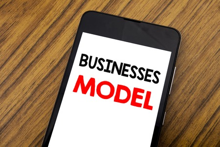 Word, writing handwriting Businesses Model. Business concept for Project For Business Written on mobile phone, wooden background with copy space.
