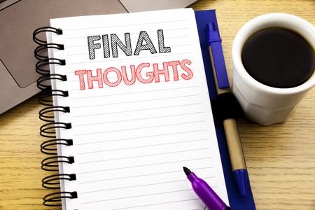 Word, writing Final Thoughts. Business concept for Conclusion Summary Text written on notebook book on wooden background in the Office with laptop coffee