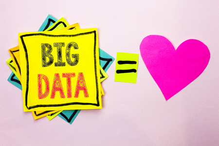 Text sign showing Big Data. Conceptual photo Huge Data Information Technology Cyberspace Bigdata Database Storage written Stacked Sticky Note Papers the plain background with Heart next to it. Banco de Imagens