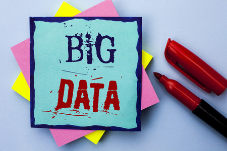 Writing note showing  Big Data. Business photo showcasing Huge Data Information Technology Cyberspace Bigdata Database Storage written Sticky Note Paper the Plain background Marker next to it.