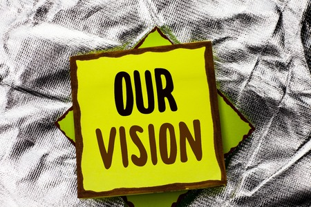 Text sign showing Our Vision. Conceptual photo Innovation Strategy Mission Goal Plan Dream Aim Direction written Stacked Sticky Note Paper the Silver textured background.