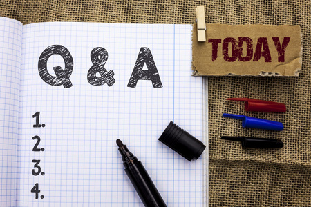 Text sign showing Q A. Conceptual photo Ask Frequently Faq Asked Question Help Solving Doubt Query Support written Notebook Book With Marker the jute background Today.