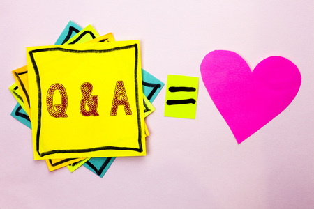 Text sign showing Q A. Conceptual photo Ask Frequently Faq Asked Question Help Solving Doubt Query Support written Stacked Sticky Note Papers the plain background with Heart next to it. Foto de archivo