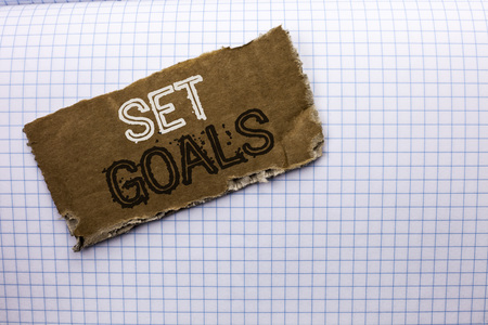 Text sign showing Set Goals. Conceptual photo Target Planning Vision Dreams Goal Idea Aim Target Motivation written tear Cardboard Piece the Check background. Stockfoto