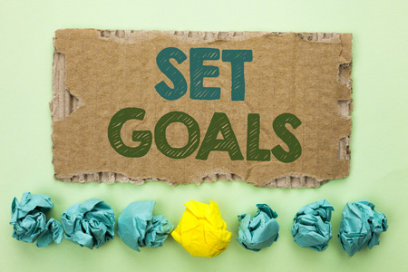 Conceptual hand writing showing Set Goals. Business photo text Target Planning Vision Dreams Goal Idea Aim Target Motivation written Tear Cardboard plain background Crumpled Paper Balls. 写真素材