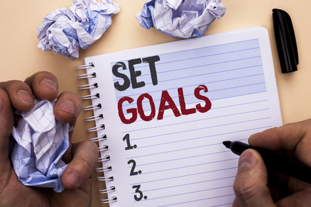 Text sign showing Set Goals. Conceptual photo Target Planning Vision Dreams Goal Idea Aim Target Motivation written by Man Notebook Book holding Marker Plain background