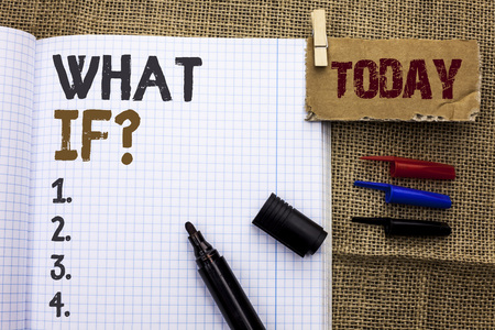 Text sign showing What If Question. Conceptual photo What Mean Question Ask Frequently Help Solving Support Faq written Notebook Book With Marker the jute background Today.