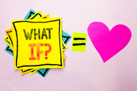 Text sign showing What If Question. Conceptual photo What Mean Question Ask Frequently Help Solving Support Faq written Stacked Sticky Note Papers the plain background with Heart next to it.