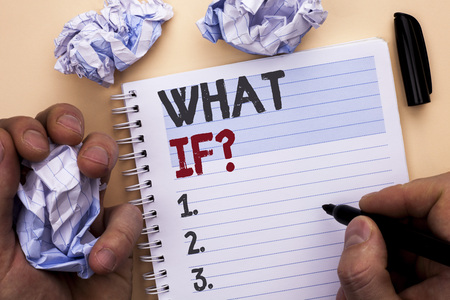 Text sign showing What If Question. Conceptual photo What Mean Question Ask Frequently Help Solving Support Faq written by Man Notebook Book holding Marker Plain background Stockfoto