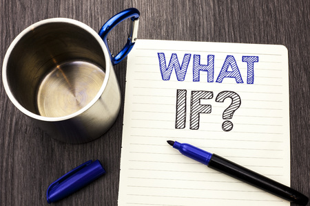 Conceptual hand writing showing What If Question. Business photo showcasing What Mean Question Ask Frequently Help Solving Support Faq written Notebook Paper wooden background Marker and Cup Banco de Imagens